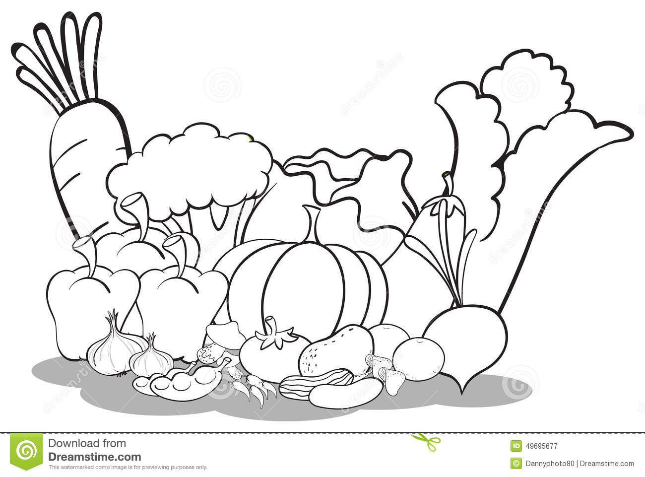 Clipart Vegetables And Fruits Black And White.