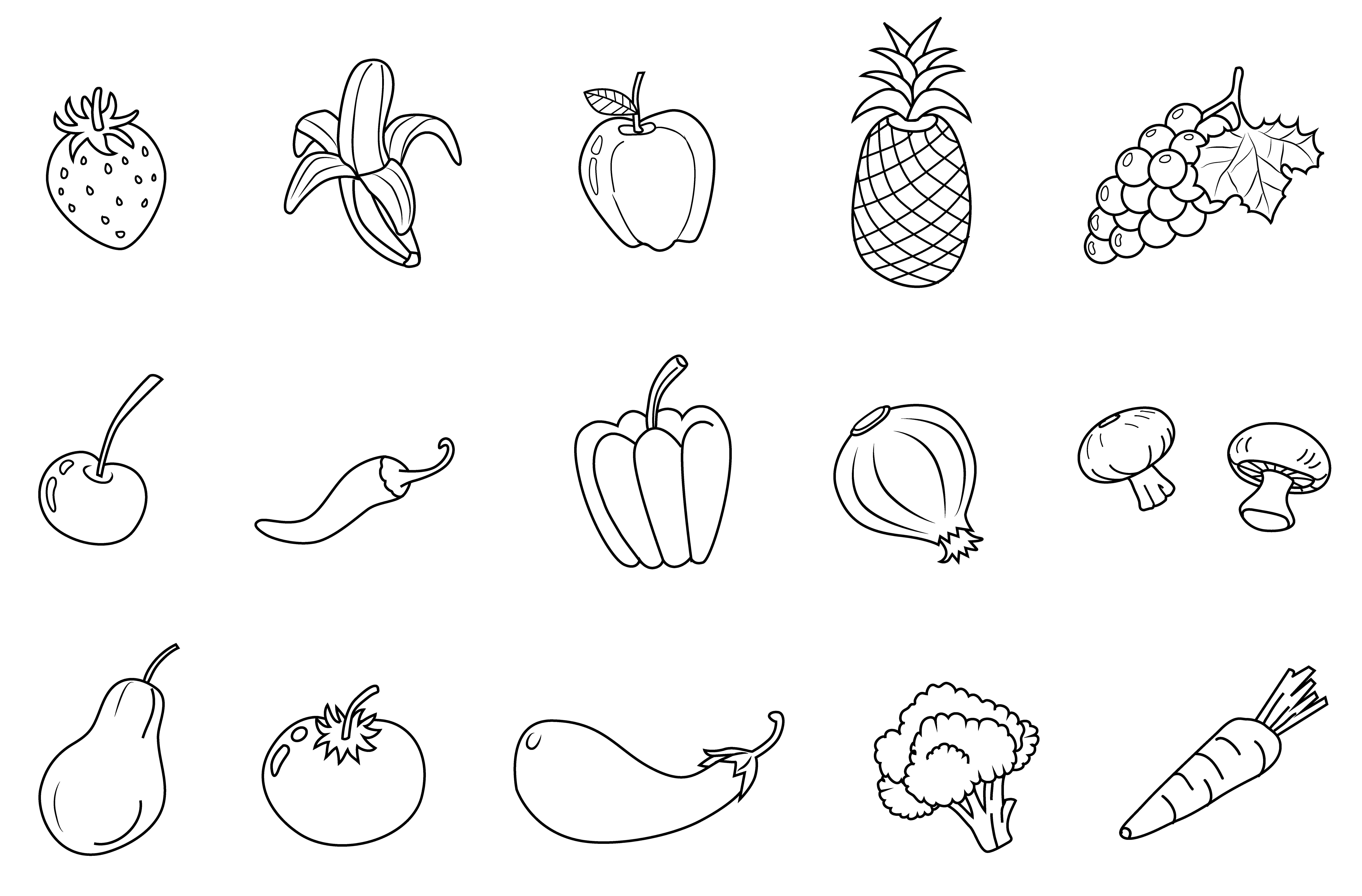 Black And White Clipart Of Fruits And Vegetables.