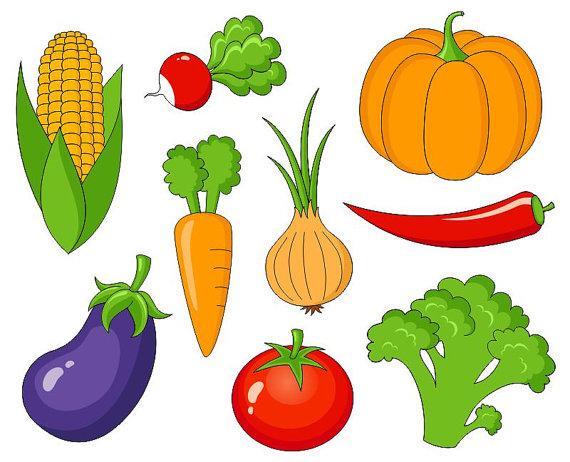 Vegetables Clip Art, Cute Veggies Digital Clipart, Corn.