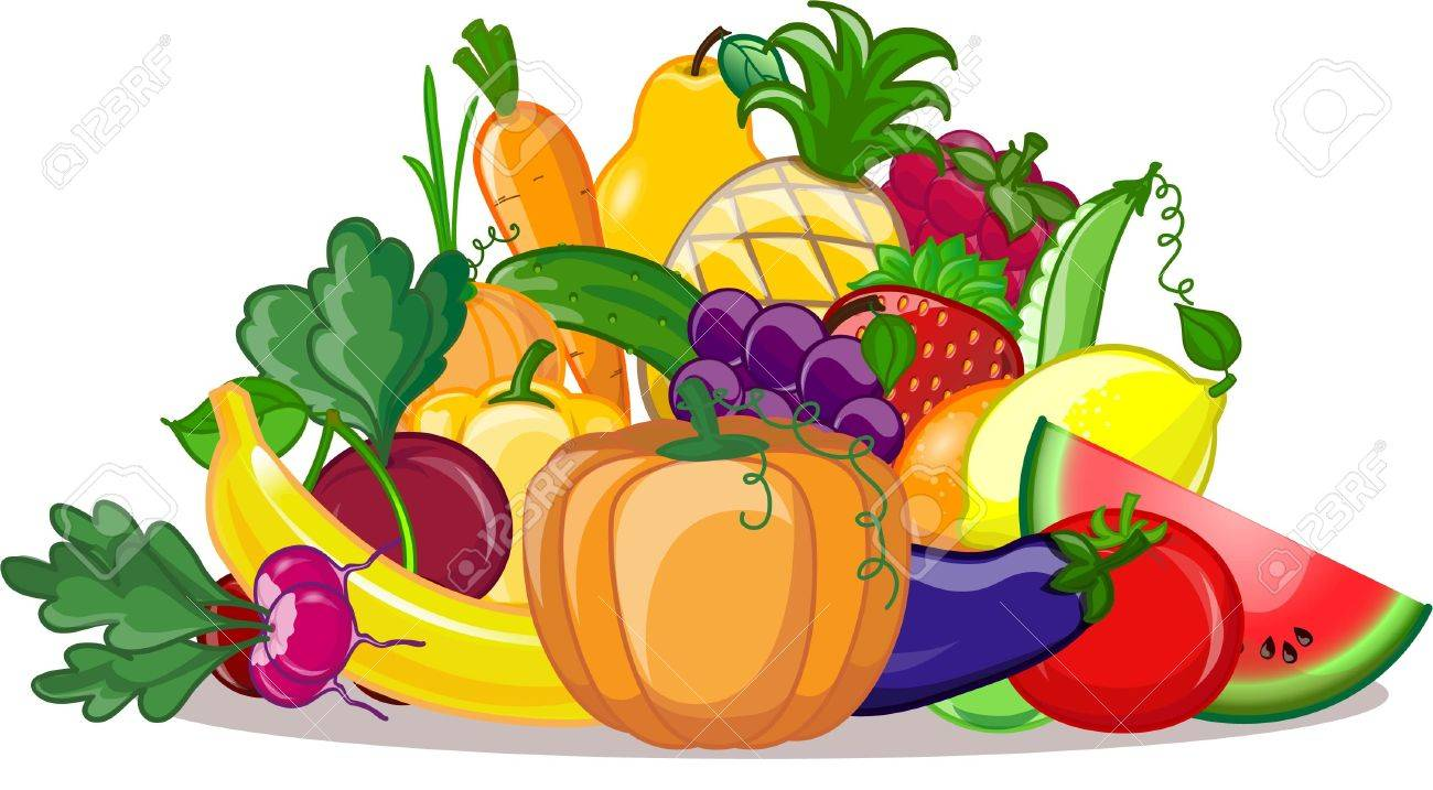 Cartoon Fruits And Vegetables Clipart.