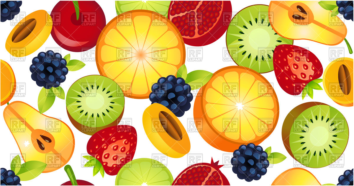 Sliced fruit seamless pattern Stock Vector Image.
