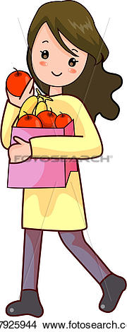 Clipart of lifestyle, fruit, shopping bag, pack, apple, girl.
