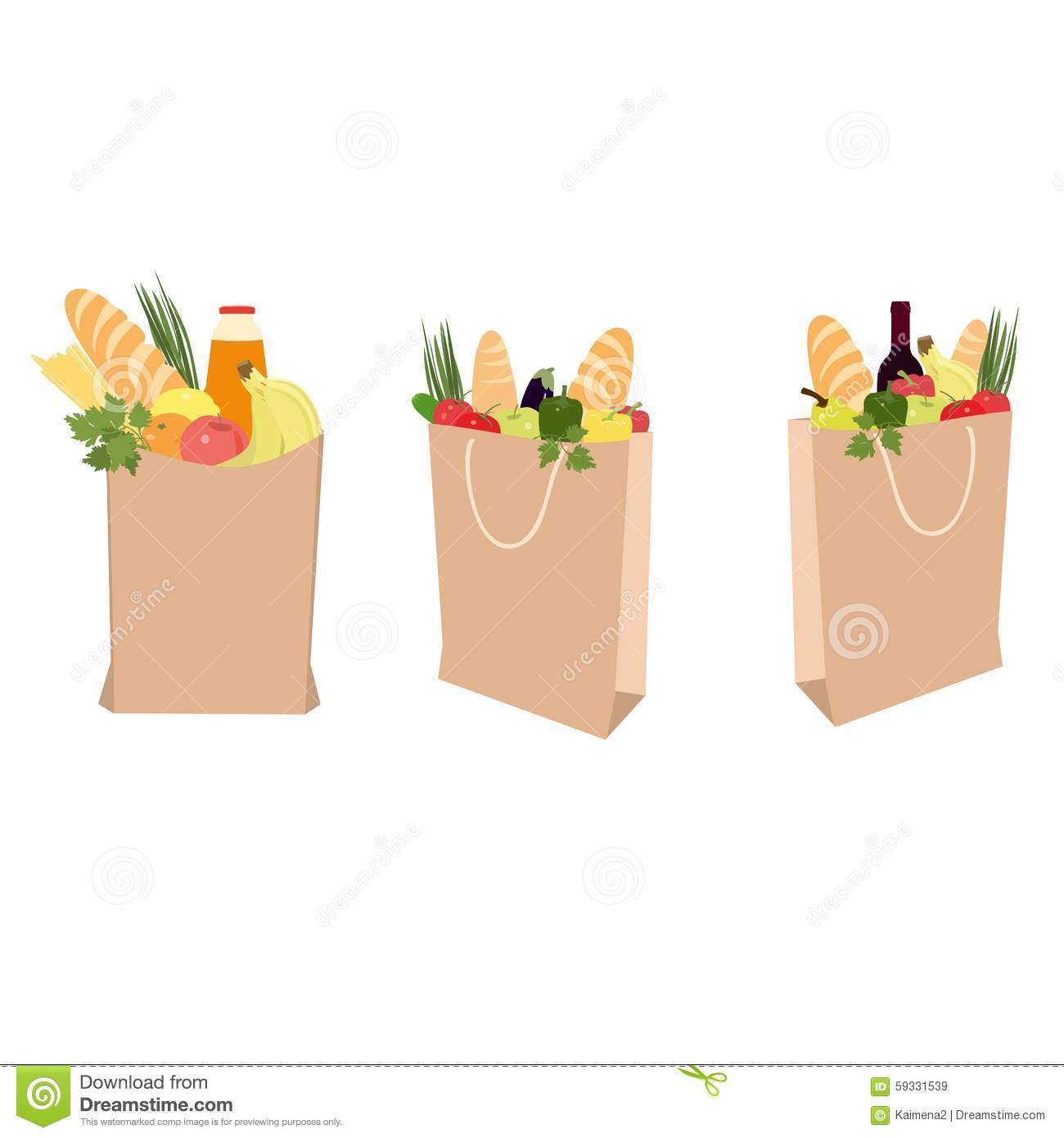 Fruits, Vegetables, Bread, Bottled Beverages, And Wine In Brown.