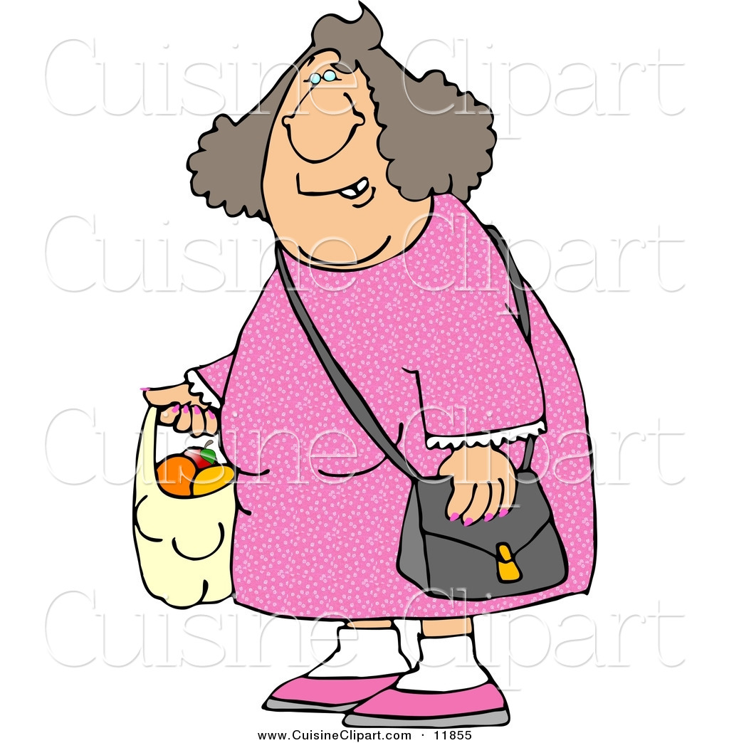 Cuisine Clipart of a Woman Carrying a Plastic Bag Full of Fruit to.