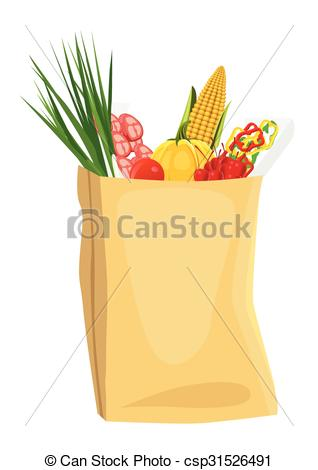 EPS Vectors of fruits and vegetables in brown grocery bag.
