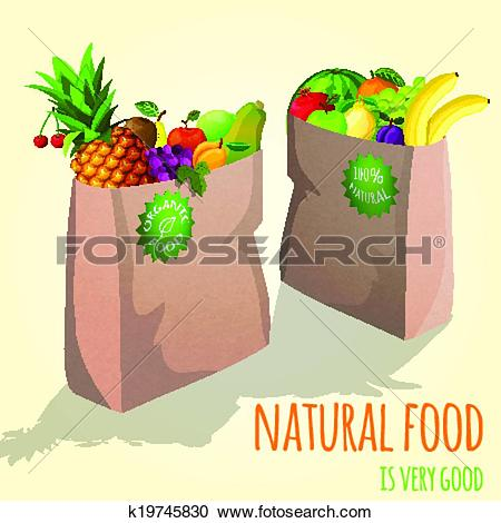 Clipart of Fruits in paper bag print k19745830.