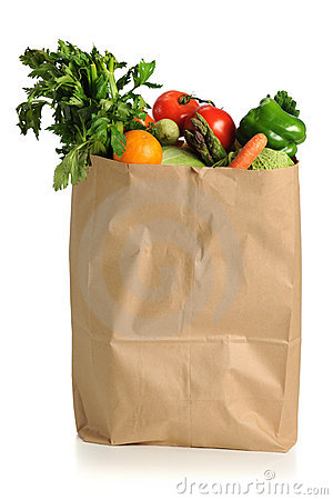 Grocery Sack Silhouette Clipart.