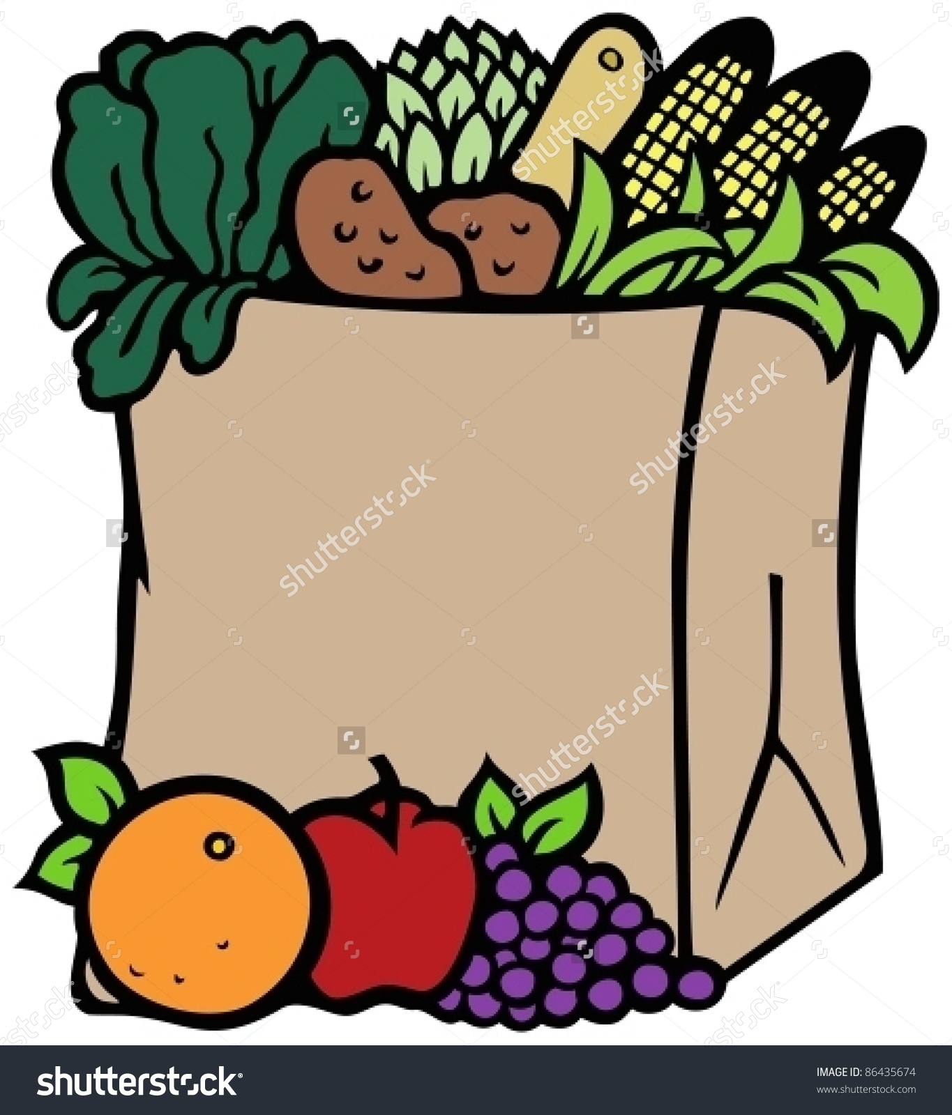 Fruits And Vegetables In A Recyclable Paper Bag Stock Vector.