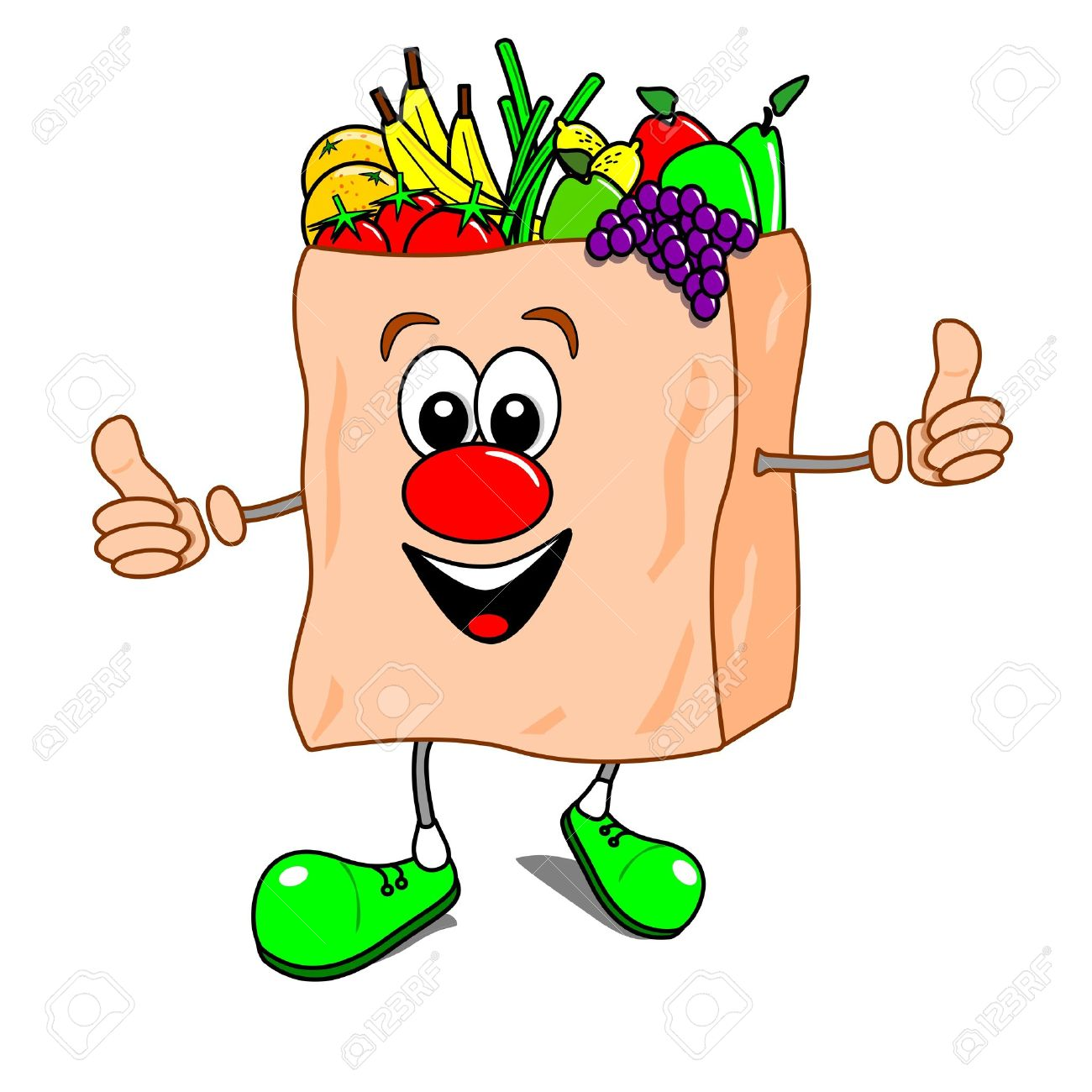 Cartoon Illustration Of A Shopping Bag With Fruit And Vegetables.
