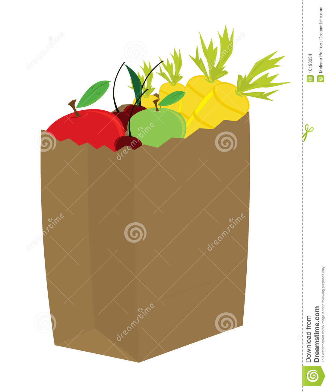 Fruit And Vegetables In Grocery Bag Stock Images.