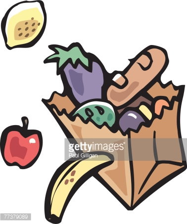 A Paper Bag Full Of Fruits And Vegetables Vector Art.