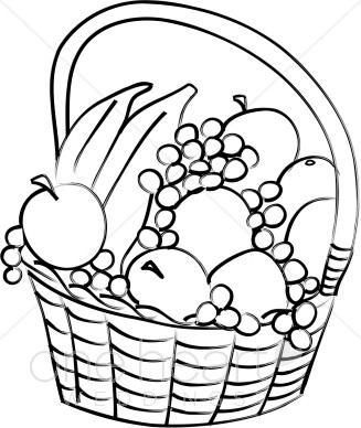 Black and White Fruit Basket Clipart.