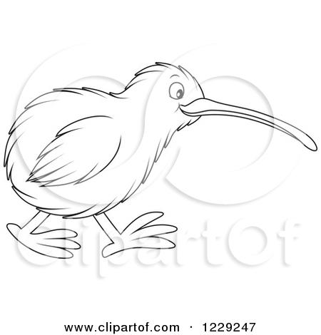 Clipart Shocked Kiwi Bird And Fruit.