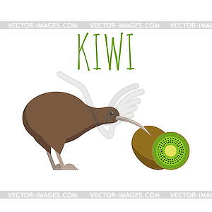 Kiwi bird and kiwi fruit.