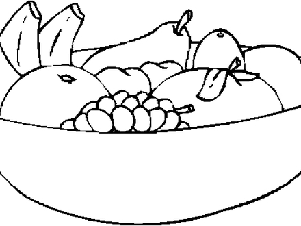 Bowl Of Fruits Clipart Black And White.