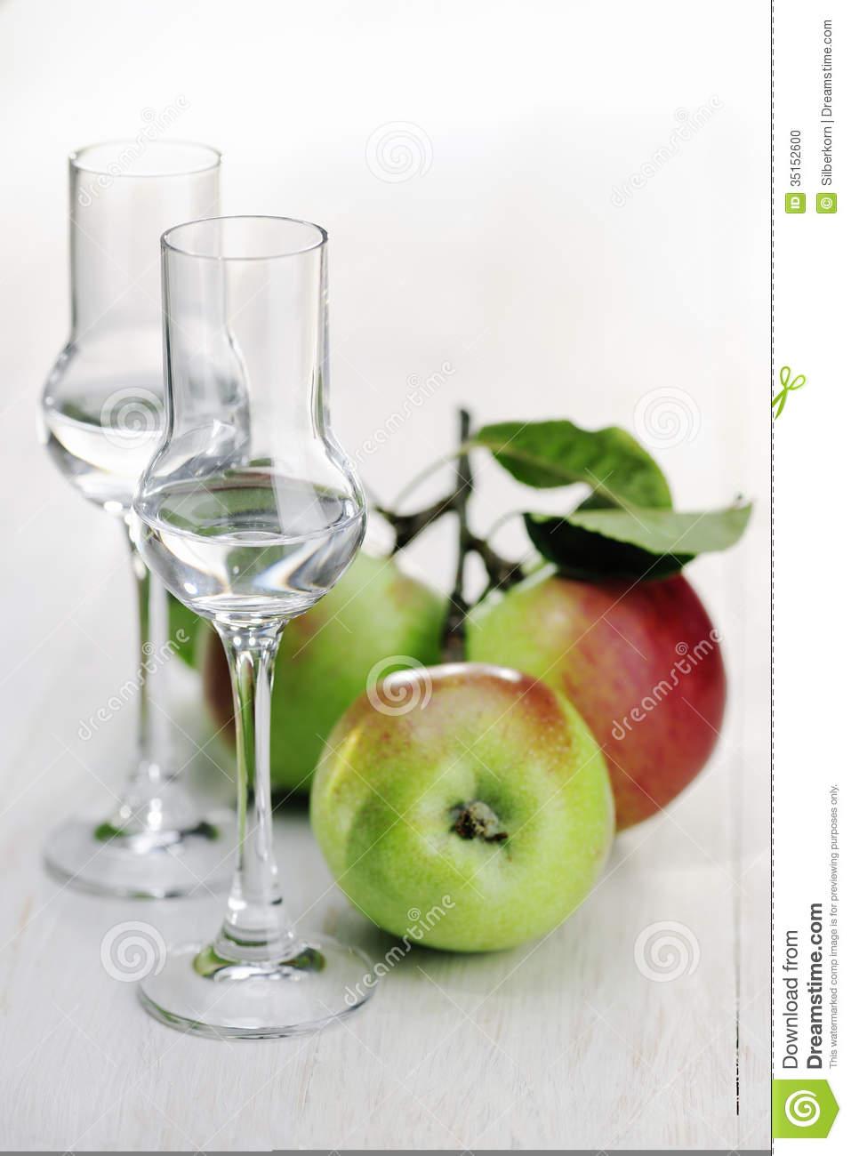 Fruit Brandy, Apple Brandy, Grappa Stock Photo.