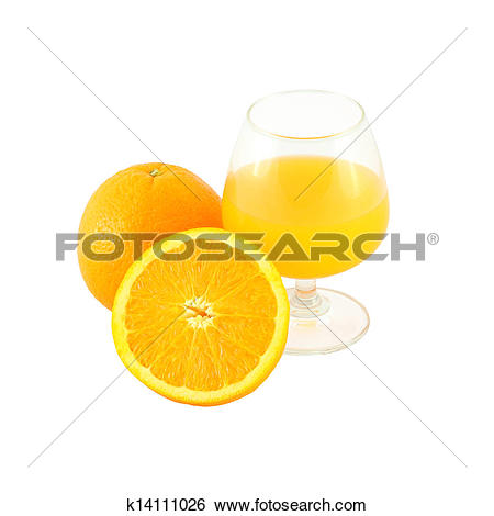 Stock Images of Orange juice in brandy glass and one half fruit on.