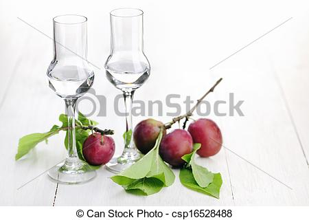 Pictures of Fruit Brandy, Plum Brandy with glasses csp16528488.