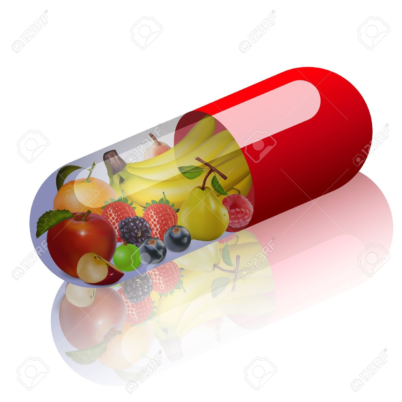 Illustration Of Fruits In Capsule Concept Vitamin From Fruit.