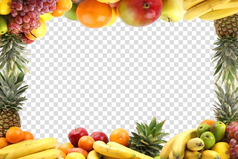 Assorted fruit border illustration, Fruit Vegetable Healthy.