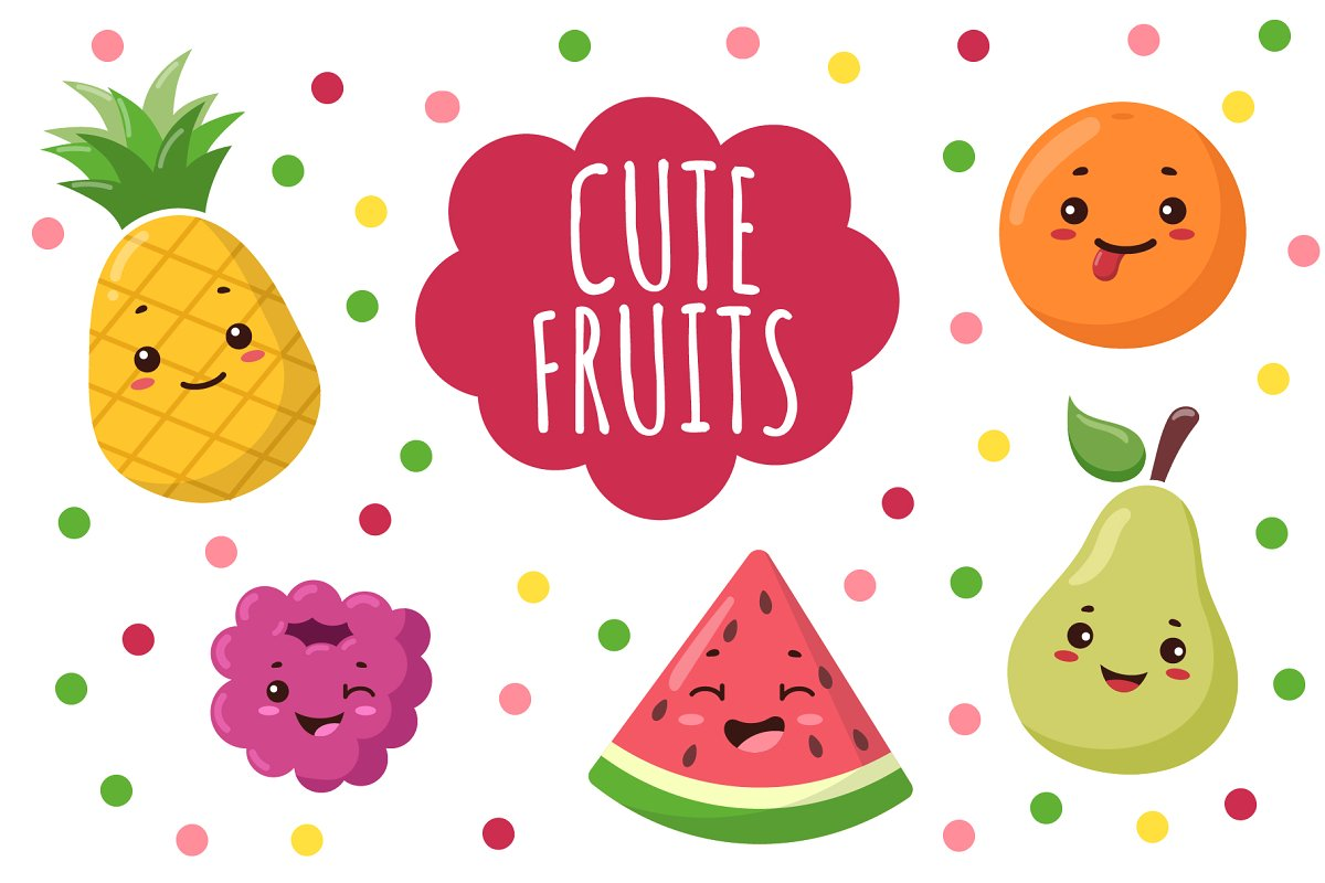 Cute kawaii fruit Clipart + patterns.