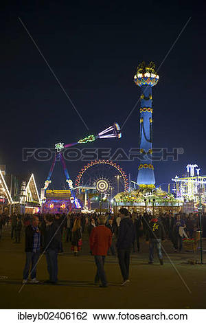 "Stock Photo of ""View of the Cannstatter Volksfest fair, rides."