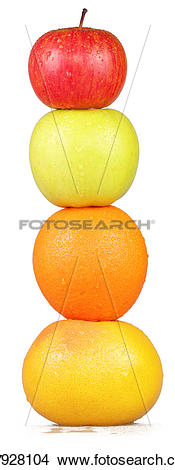 Stock Photo of Column of colorful fruit on a white background.