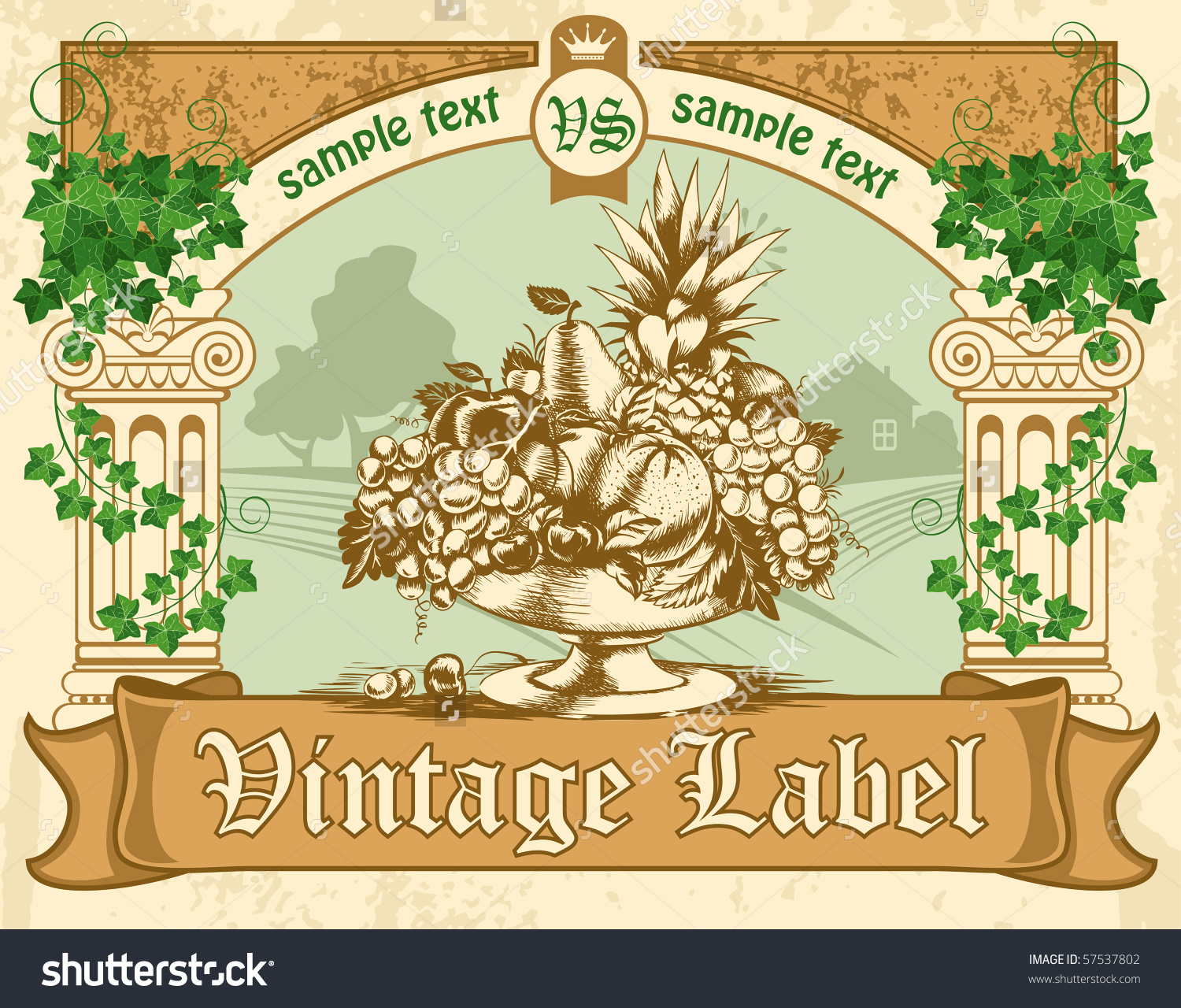 Vintage Labels, Antique Columns, Entwined With Ivy And A Bowl Of.