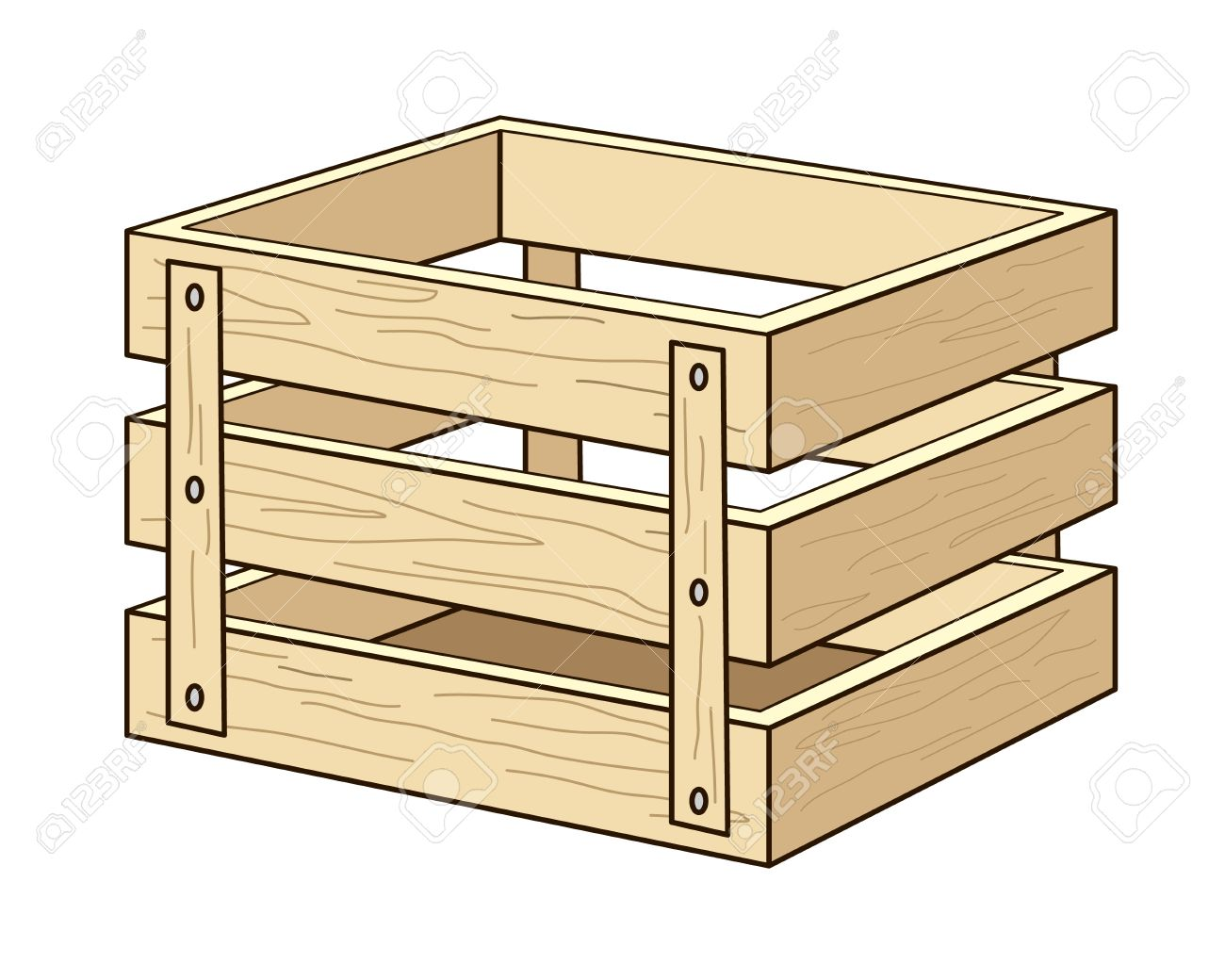 Wood box clipart.