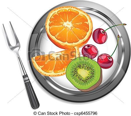 Clip Art Vector of Fruit salad, orange, kiwi, cherry on plate with.