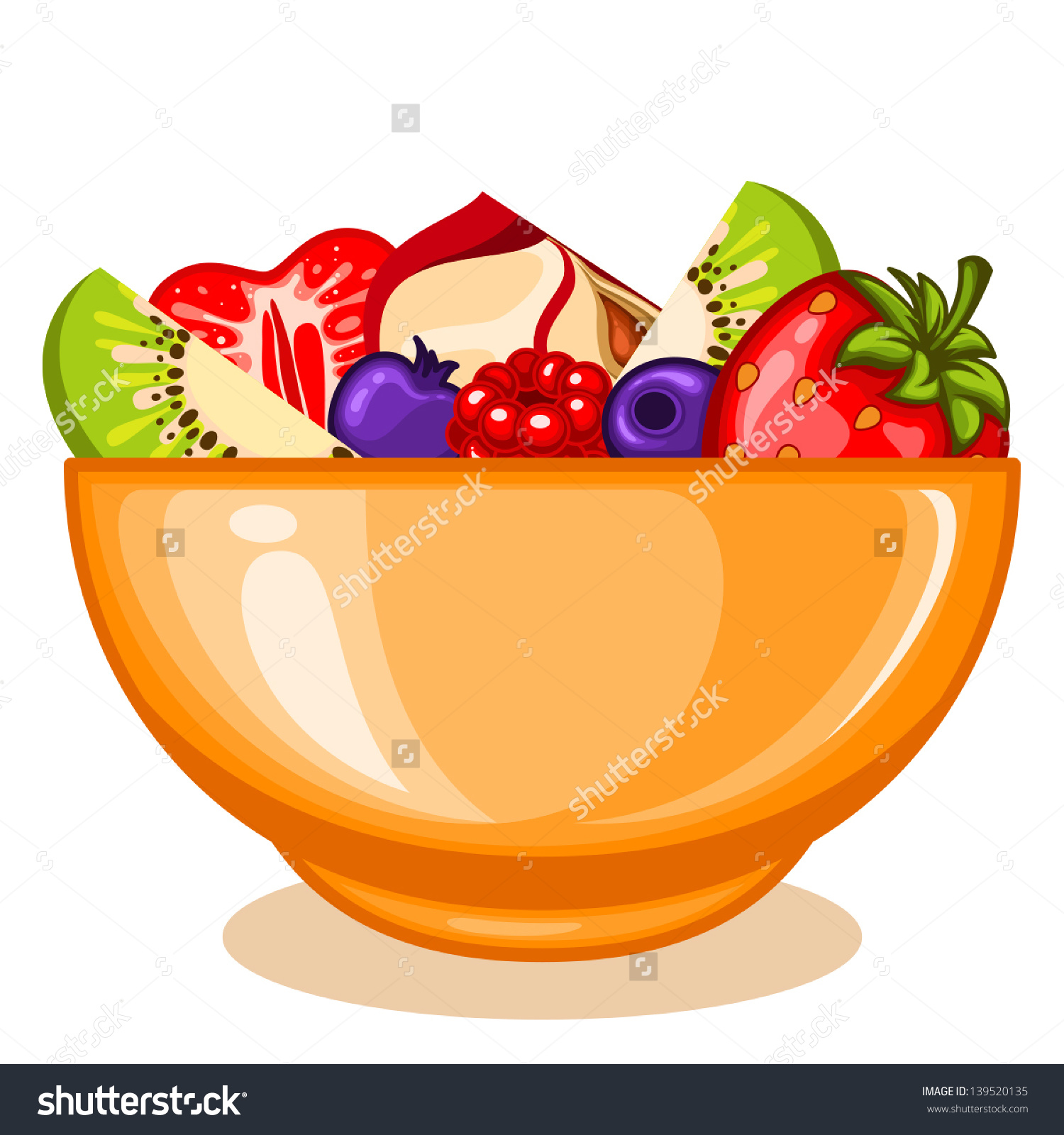 Bowl Fruit Salad Stock Vector 139520135.