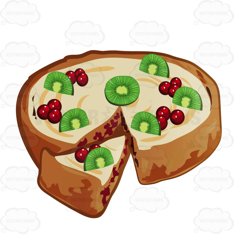Fruit Tart With A Slice Taken Out Cartoon Clipart.