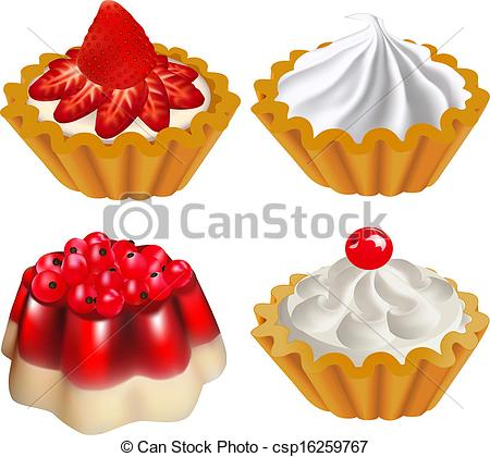 Clip Art Vector of set of fruit desserts with jelly and a cake.