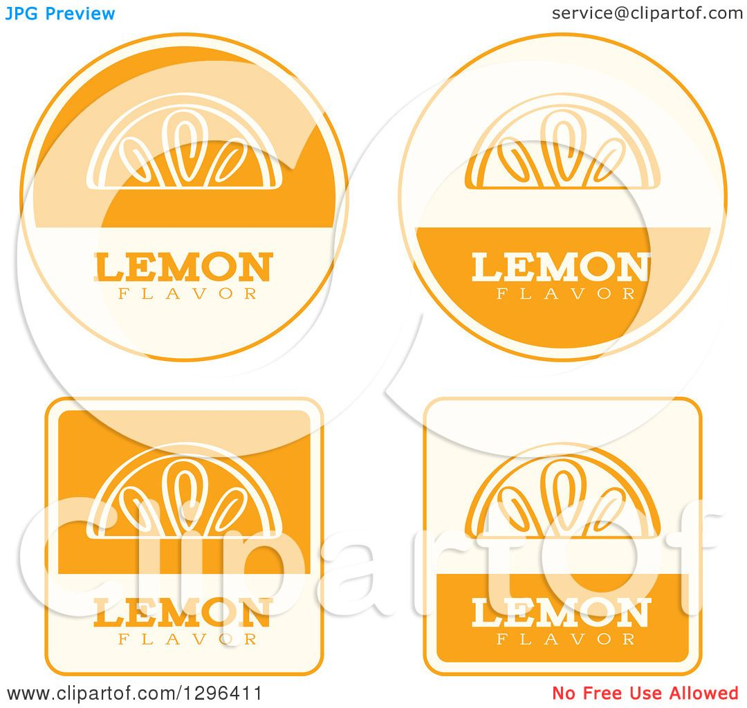 Clipart of a Set of Yellow and Beige Lemon Fruit Flavor Labels.