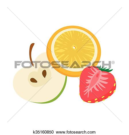 Clipart of Fruit flavor icon, cartoon style k35160850.