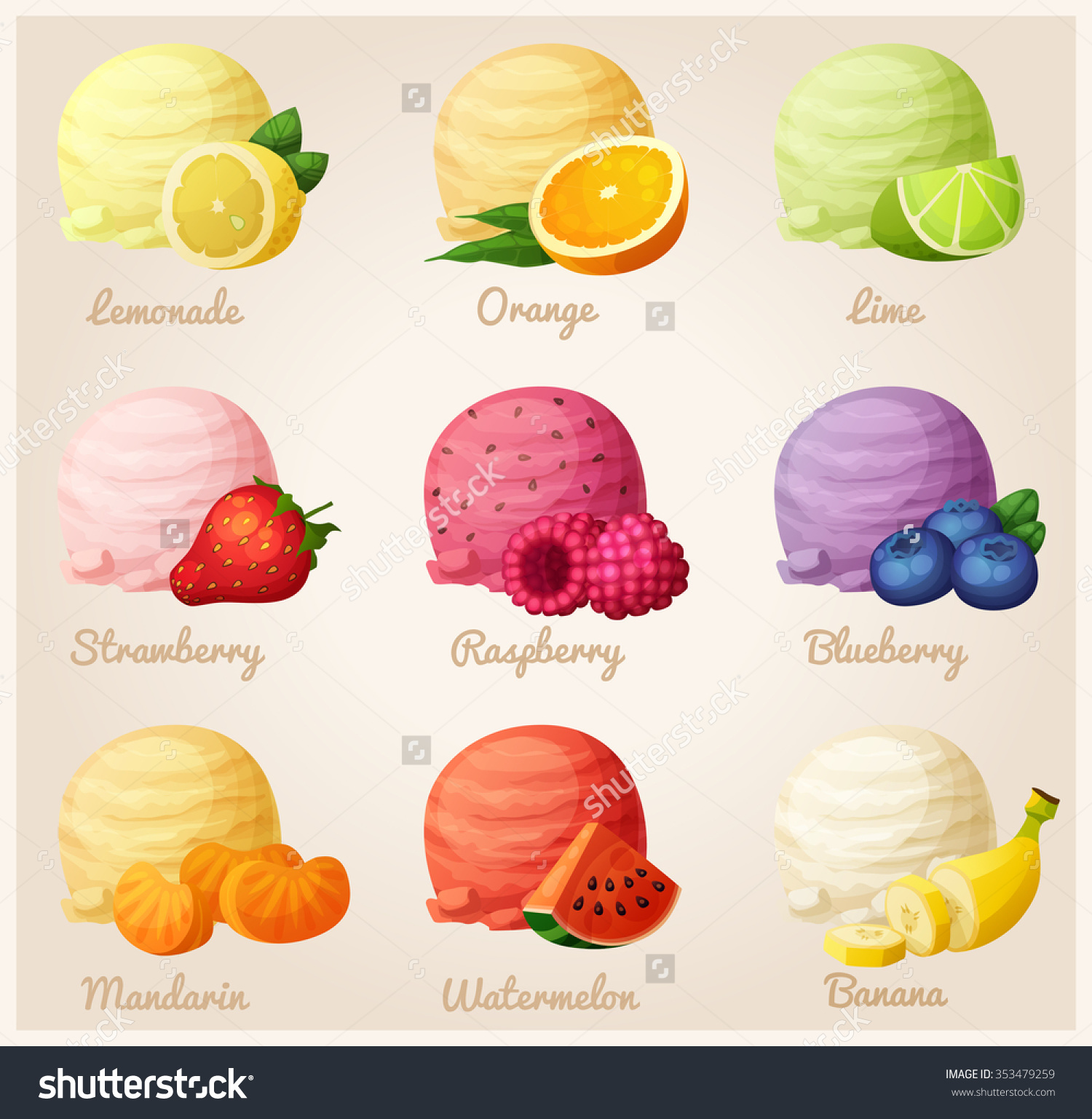 Set Cartoon Vector Icons Ice Cream Stock Vector 353479259.