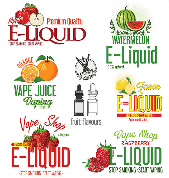 Vape Labels E Cigarette And Fruit Flavor Icons Clip Art, Vector.