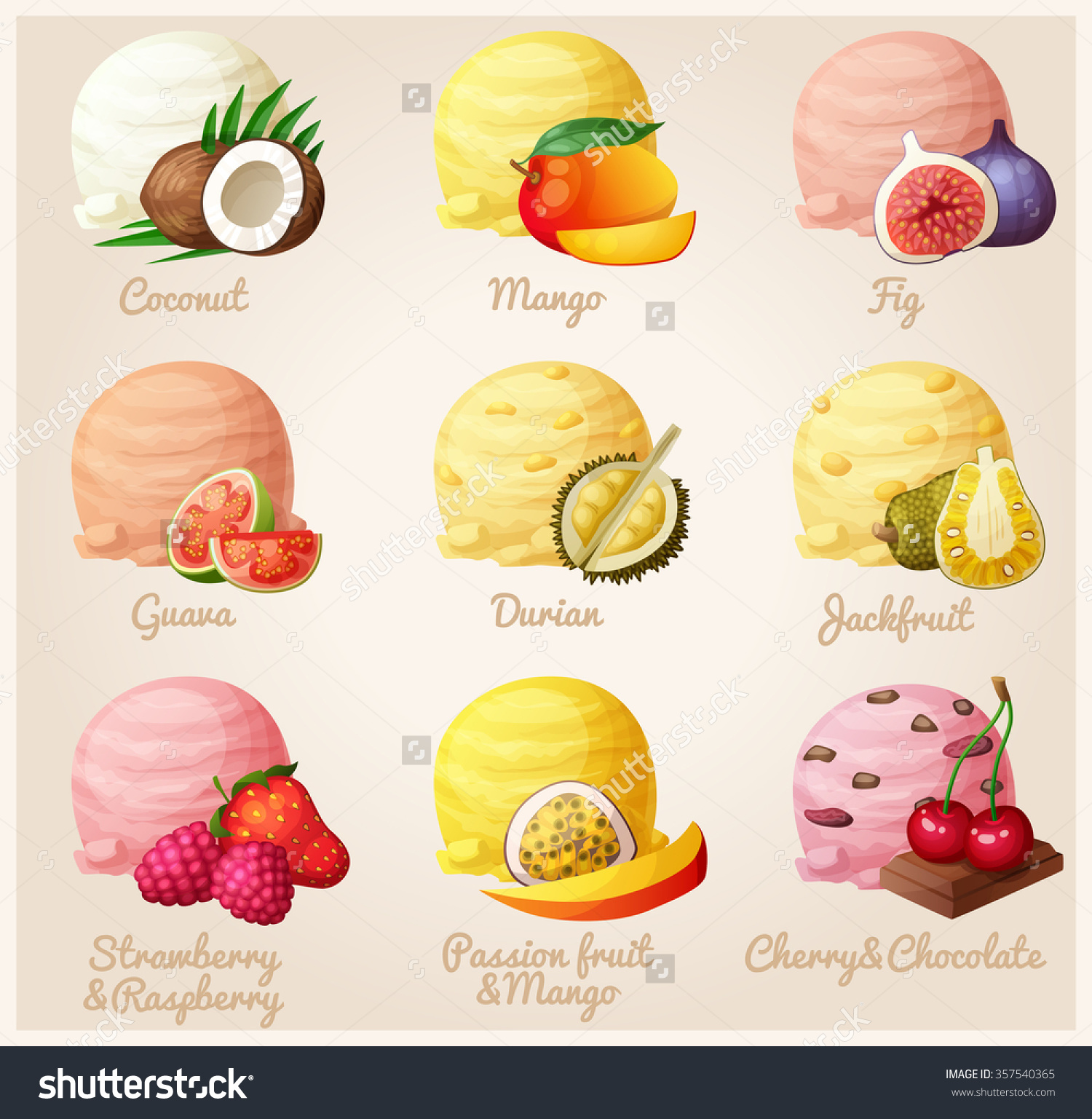Set Cartoon Vector Icons Ice Cream Stock Vector 357540365.