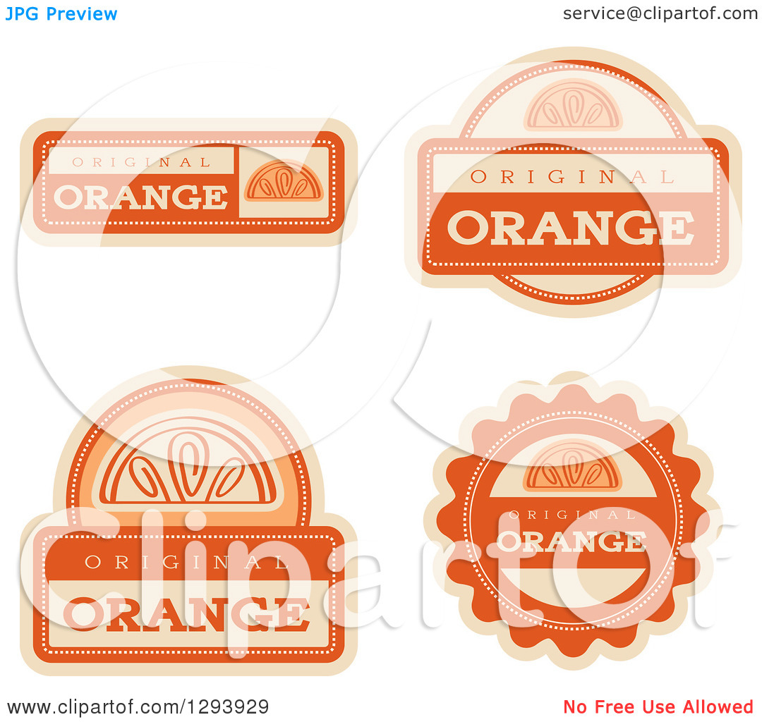 Clipart of a Set of Orange Fruit Flavor Labels.