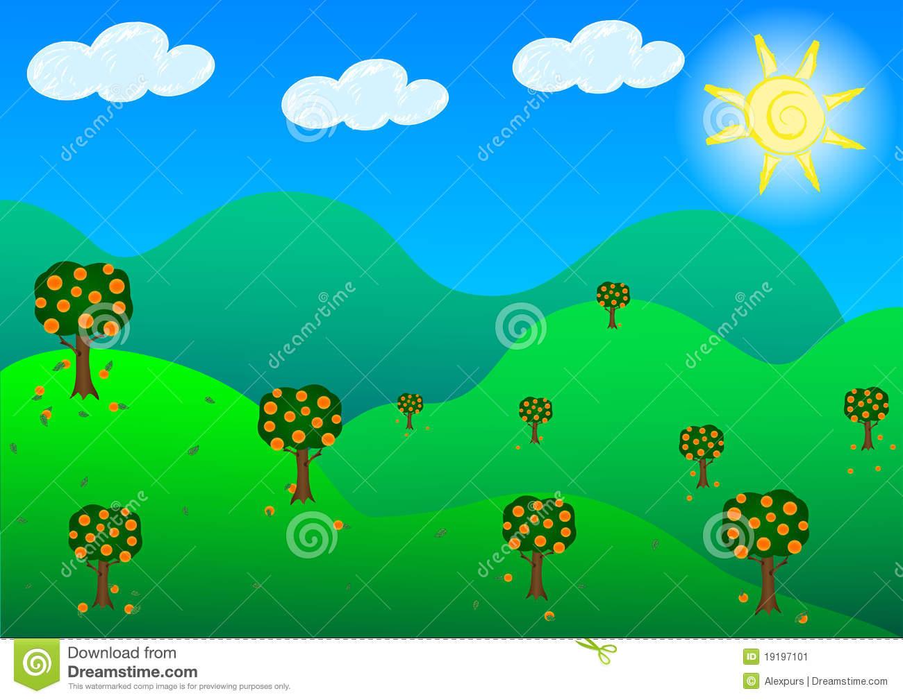 Fruit Garden Hills In Sunshine Day. Stock Image.