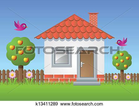 Clip Art of Fruit garden with house k13411289.