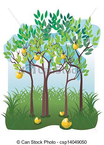 Clipart Vector of Juicy fruits in the apple garden.