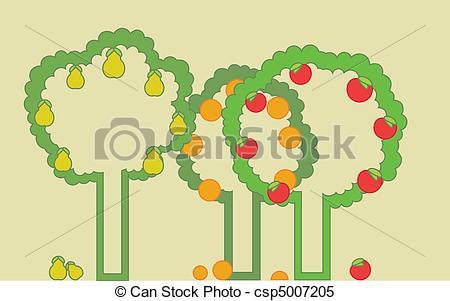 Clipart Vector of Fruit Garden.