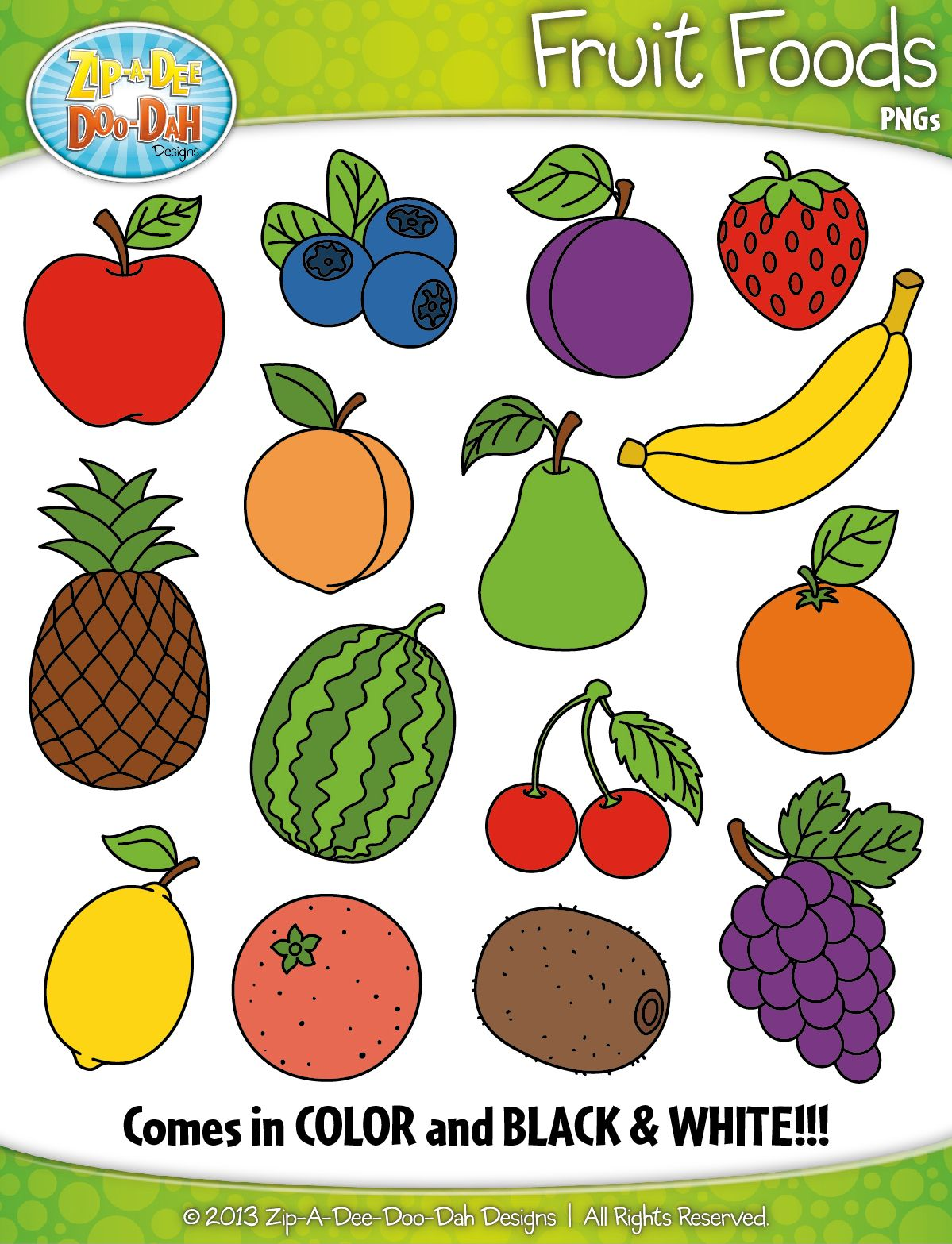 Fruit Foods Clipart {Zip.