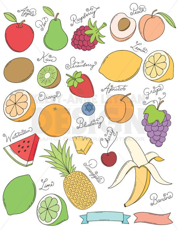 Doodle Fruit Clip Art Set, Hand drawn Food Clipart.