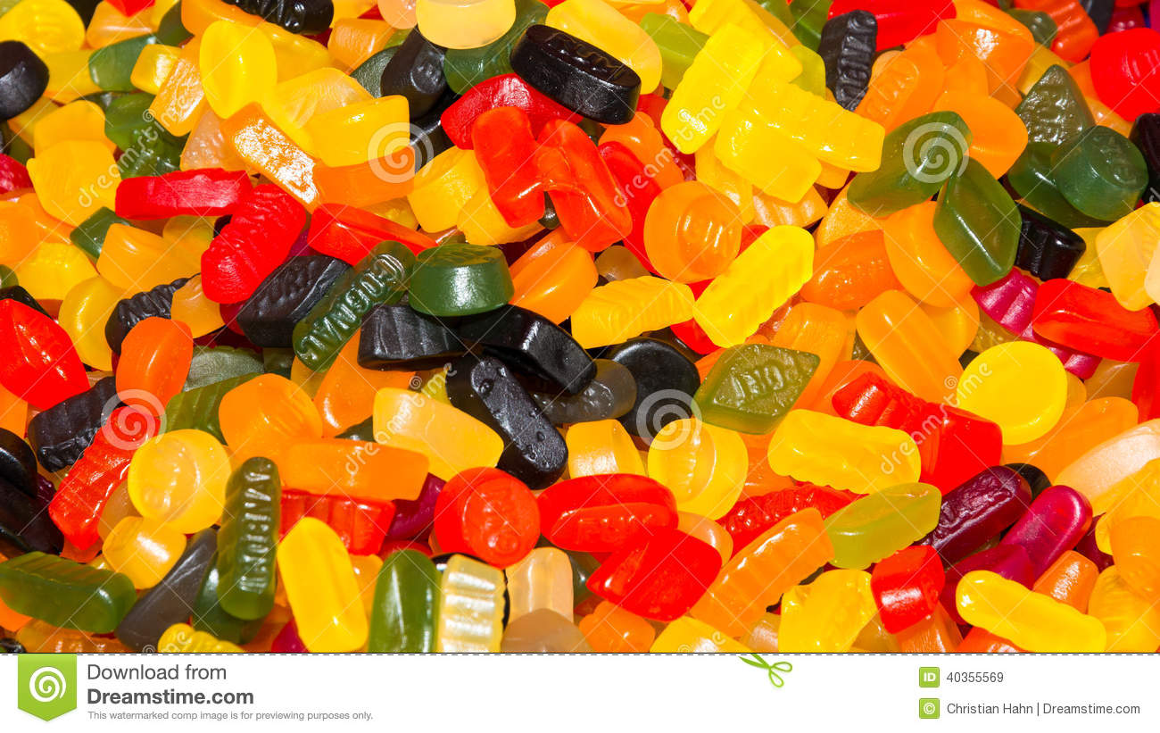 Wine Gums Or Fruit Gums Background Texture Stock Photo.