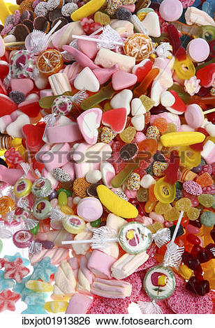 "Stock Images of ""Clear plastic bags with a variety of fruit gums."