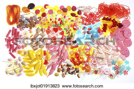 "Stock Photo of ""Clear plastic bags with a variety of fruit gums."