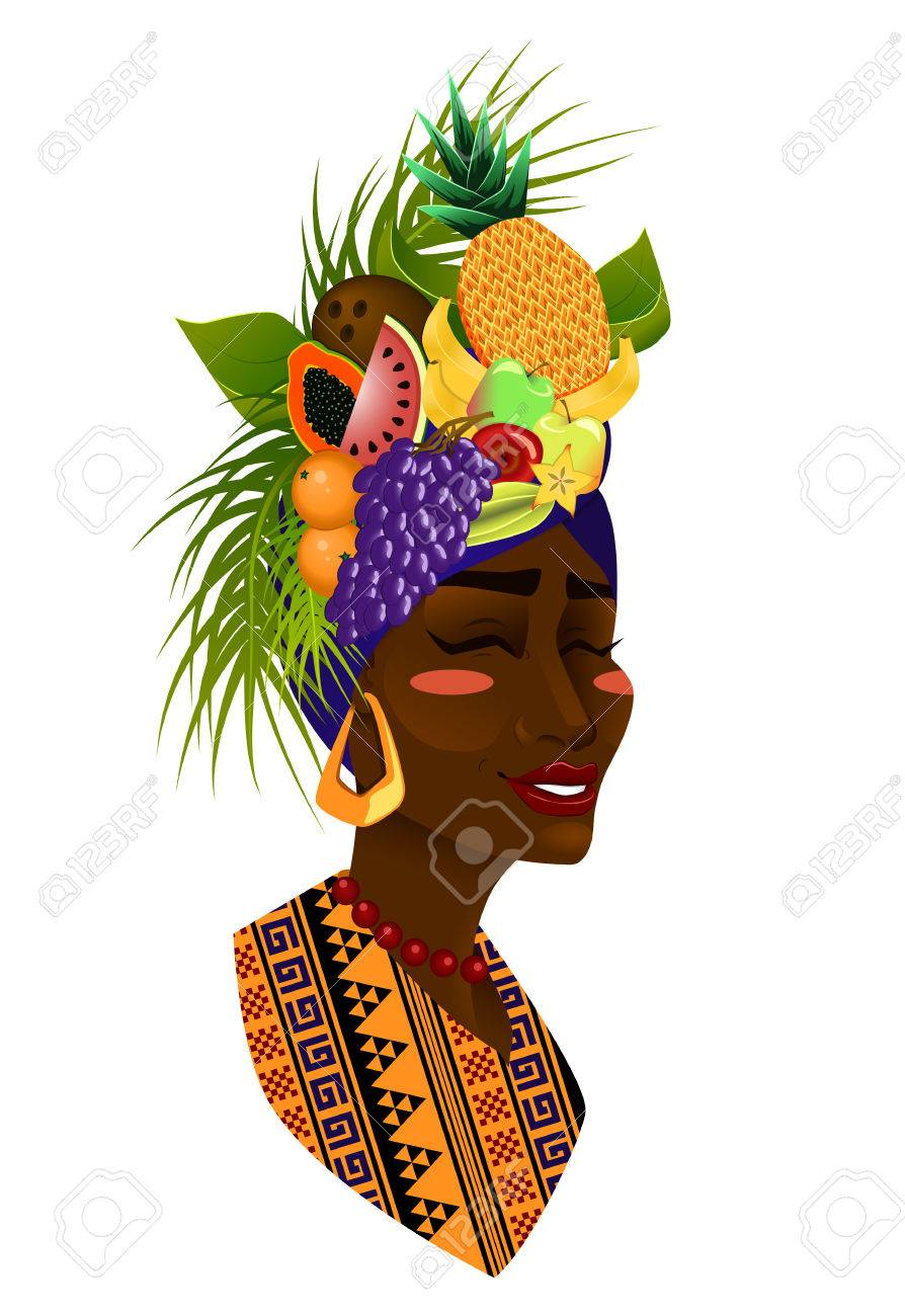 Beautiful woman with a fruit hat.