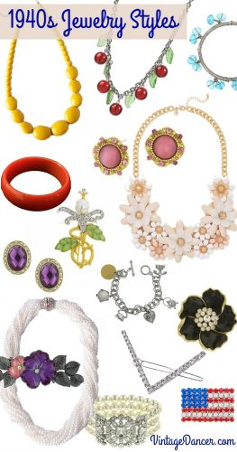 New 1940s Costume Jewelry: Necklaces, Earrings, Pins.